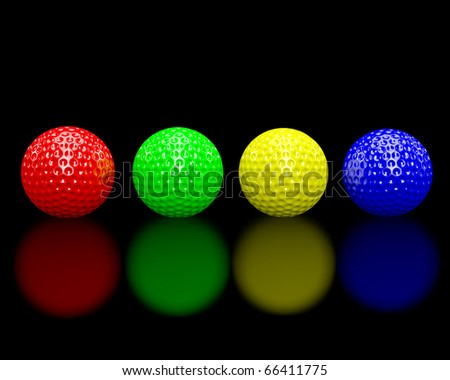 Rainbow colored golf balls on a glossy black floor.