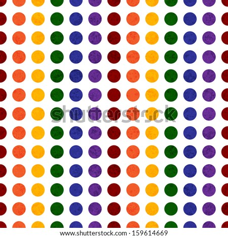 Rainbow Colored Polka Dot Textured Fabric Background that is seamless and repeats - stock photo