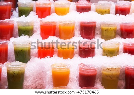 Rainbow colored smoothies