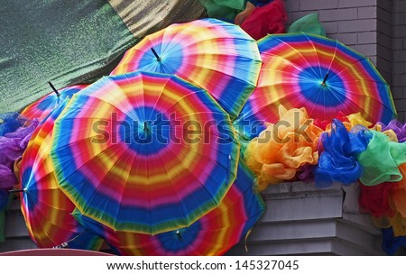 rainbow colored umbrellas, Gay Pride decorations