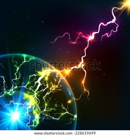 Rainbow colors shining cosmic plasma lightning - stock photo