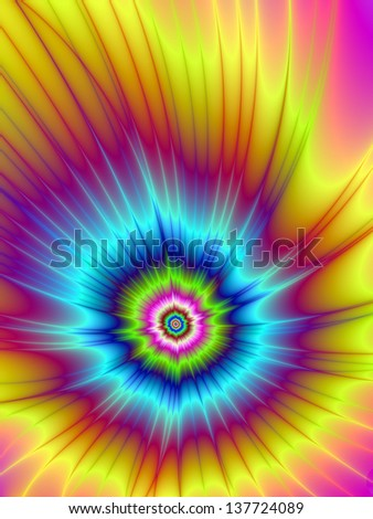 Rainbow Comet / Digital abstract fractal image with a colorful comet design in pink, blue, yellow and green.