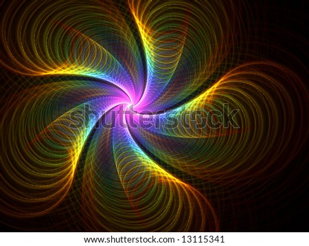 Rainbow Curl Fireworks - fractal design - stock photo