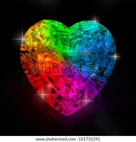 rainbow diamond heart shape  isolated on black background - 3d render. - stock photo