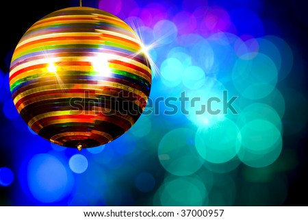 Rainbow disco ball - stock photo