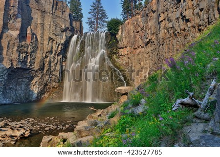 Rainbow fall, Mammoth Creek - stock photo