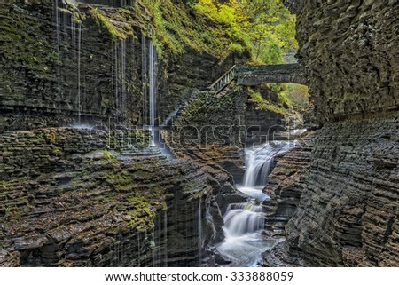 Rainbow Falls At Watkins Glen State Park In New York - stock photo