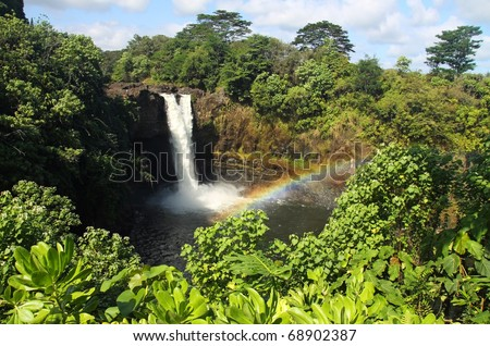 Rainbow Falls (Big Island, Hawaii) 02 - stock photo