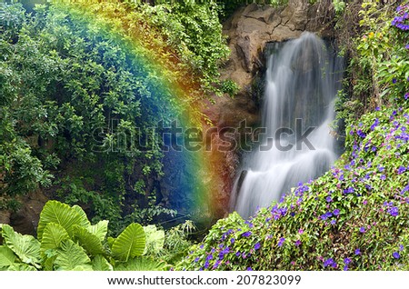 Rainbow Falls in Tenerife - Canary Islands - stock photo