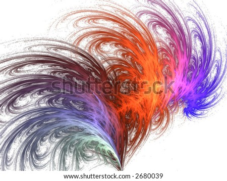 rainbow feather abstract design icon - stock photo