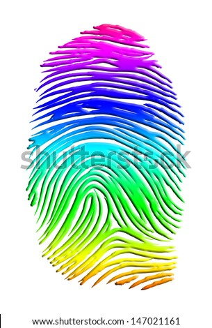 Rainbow Finger Print - stock photo
