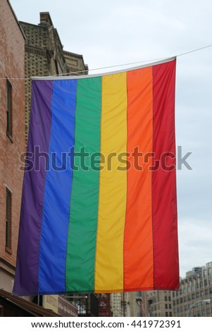 Rainbow flag at Greenwich Village in New York City
