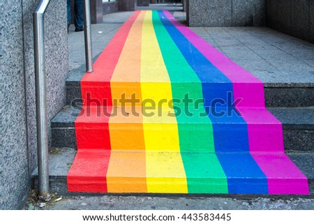 Rainbow flag painted in a Scotiabank in downtown. Toronto celebrates along the LGBT community the first Pride Month.