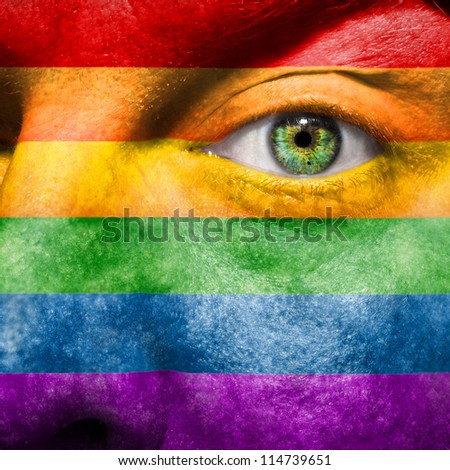 Rainbow Flag painted on face  to show gay pride support - stock photo