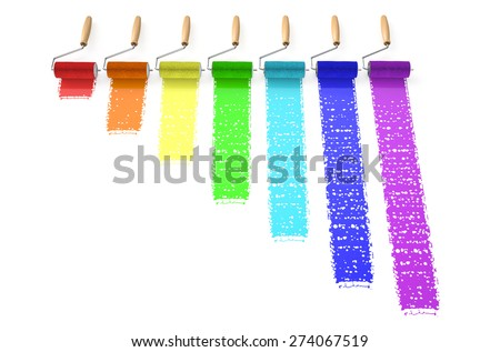 rainbow from paints isolated on  white background  - stock photo