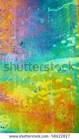 Rainbow Galvanized Metal Background. Shallow DOF. - stock photo