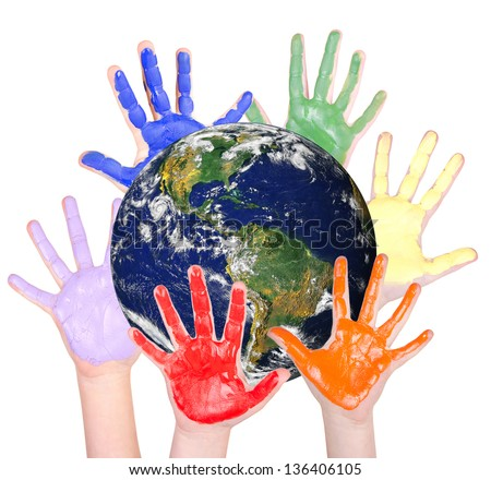 Rainbow hands around the globe, isolated on white: Parts of this image furnished by NASA - stock photo
