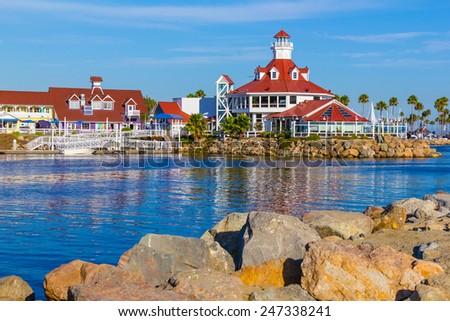 Rainbow Harbor with Shoreline Village at Long Beach , CA  - stock photo