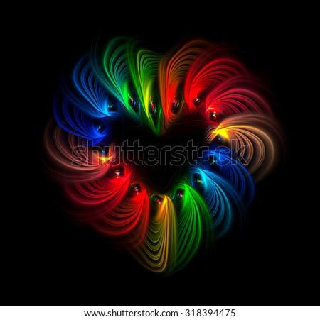 Rainbow Heart abstract illustration - stock photo