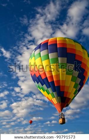 Rainbow Hot Air Balloon - stock photo