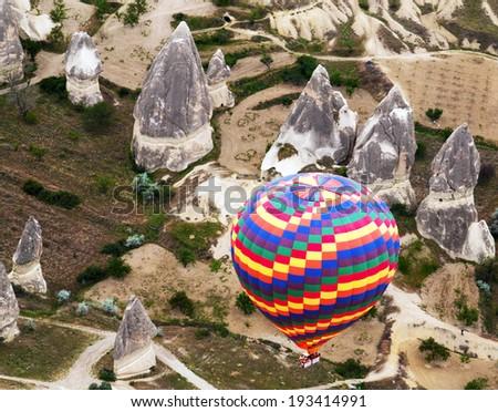 rainbow hot air balloons. Cappadocia, Turkey - stock photo