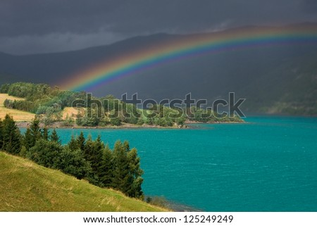 rainbow in norway - stock photo