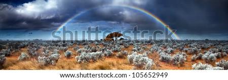 Rainbow in the Australian Desert - stock photo