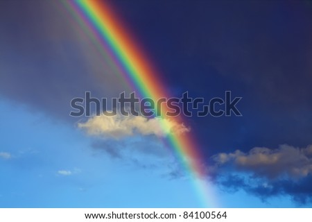 Rainbow in the city - stock photo