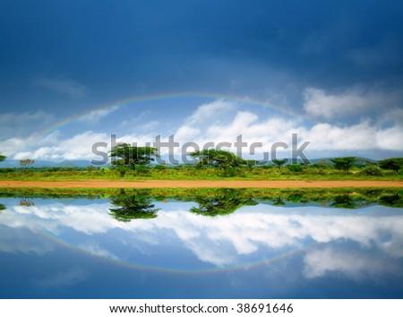 Rainbow. Kenya. Africa - stock photo