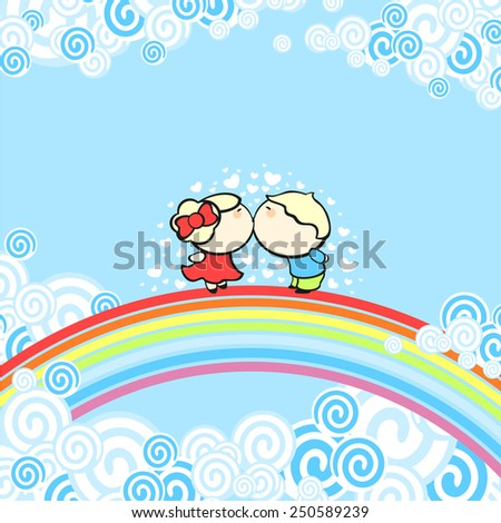 Rainbow kiss (raster version) - stock photo