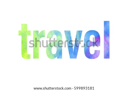 rainbow lettering travel word bright colorful stock illustration