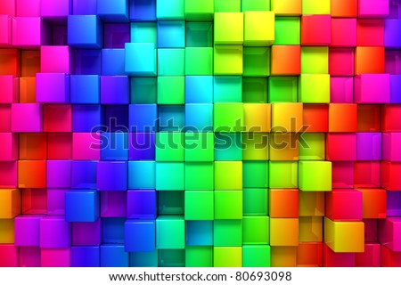 Rainbow of colorful boxes - stock photo