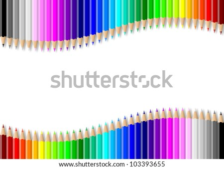 Rainbow of double colorful wavy pencils wall on empty white background illustration