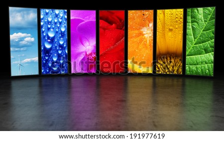 Rainbow of images background - stock photo