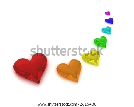 Rainbow of seven hearts on white background - stock photo