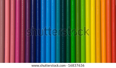 Rainbow of Vertical Colored Pencils Texture - stock photo