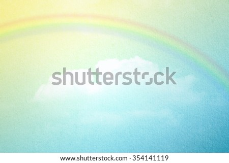rainbow on sky and cloud abstract background with pastel gradient color and grunge paper texture                - stock photo