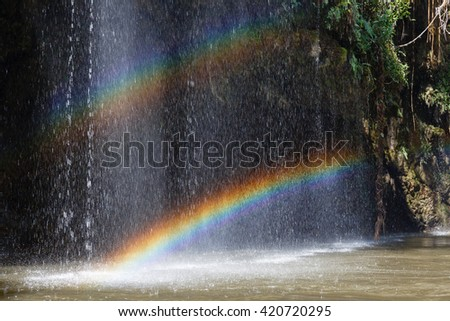 Rainbow on The Waterfall in Water Stream That Lead to Thi Lor Su Waterfall in Tak Province in Northwestern Thailand