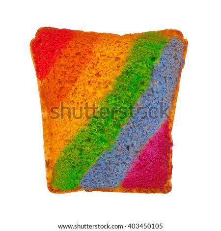 rainbow on toasted bread. rainbow strips on toast. isolated on white background - stock photo