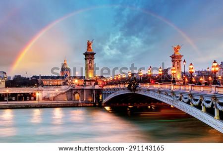 Rainbow over Alexandre III Bridge, Paris, France - stock photo