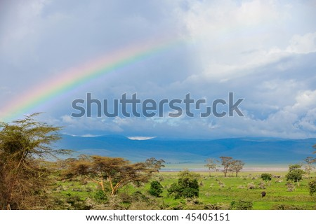Rainbow over beautiful Ngorongoro crater area in Tanzania. Elephants can be seen on right down corner. - stock photo
