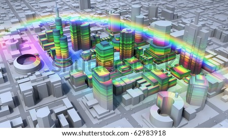 Rainbow over city - stock photo