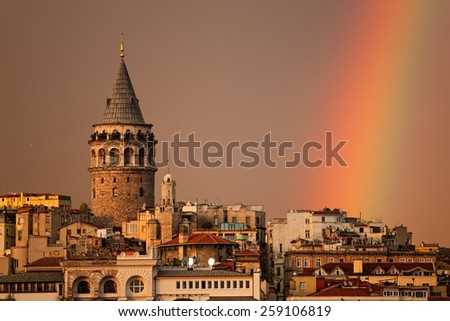 Rainbow over Galata Tower. Istanbul - stock photo
