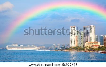 Rainbow over Puerto Vallarta - stock photo