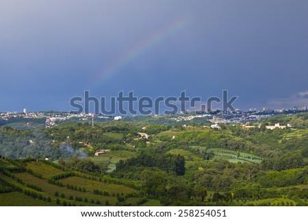 Rainbow over Vineyard at Bento Goncalves - Rio Grande do Sul - Brazil - stock photo