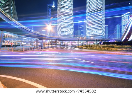 Rainbow overpass highway night scene in Shanghai - stock photo