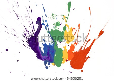 rainbow paint isolated on white background - stock photo