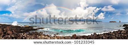Rainbow panorama - stock photo