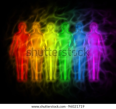 Rainbow people - rainbow silhouettes of human aura - stock photo