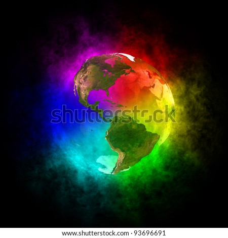 Rainbow planet Earth - America - stock photo